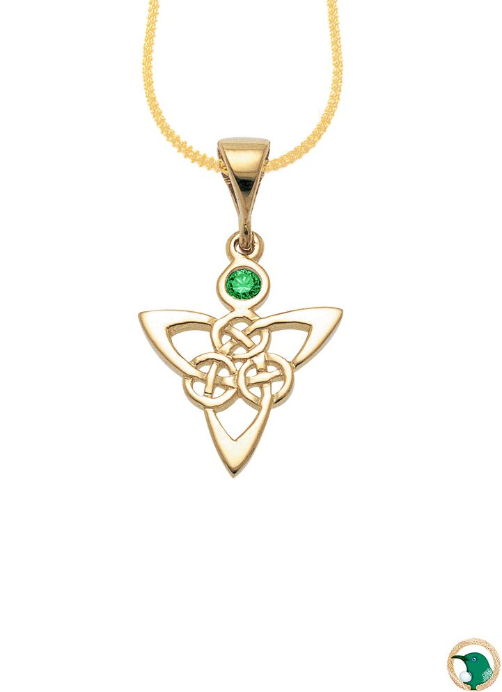 Our 9ct yellow gold Celtic trinity knot work pendant with one emerald gemstone set in the middle above the knot work pattern.