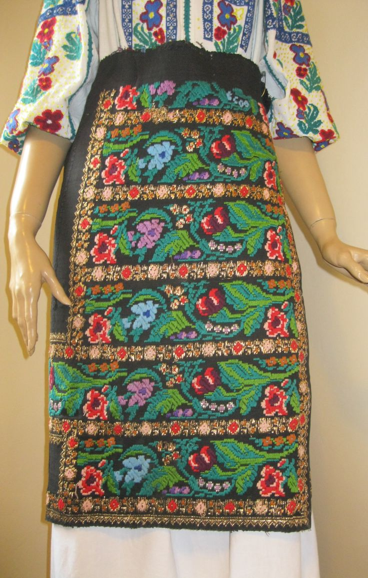 Antique Romanian  gorgeous wrap silk skirt hand woven and hand embroidered with multicolored COTTON thread. It is a rectangular entire piece which will be fixed around your waist with a needle.  For sale at www.greatblouses.com