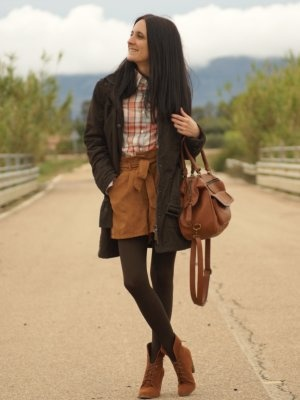marialeon outfit parka casual ante botines shorts camisa
