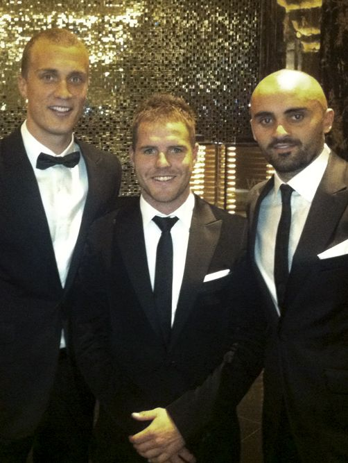 Ted Richards, Ben McGlynn and Rhyce Shaw (The Sydney Swans) in Farage at the Brownlow Medal, 2011