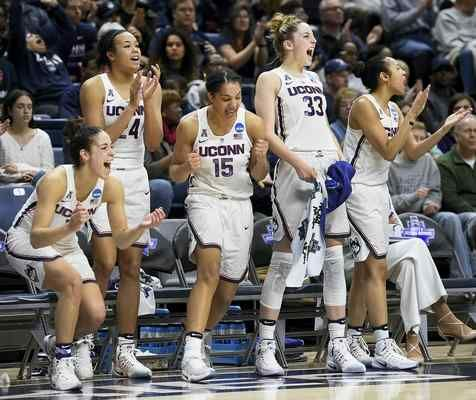 Connecticut's Kia Nurse, Napheesa Collier, Gabby Williams, Katie Lou Samuelson and Saniya Chong, from the left, react during the second half of a first round round of a women's college basketball game against Albany in the NCAA Tournament, Saturday, March 18, 2017, in Storrs, Conn.