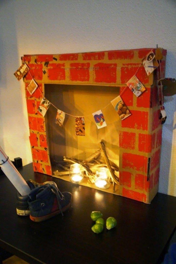 diy open haard, fireplace for sinterklaas or christmas -huisje boompje boefjes