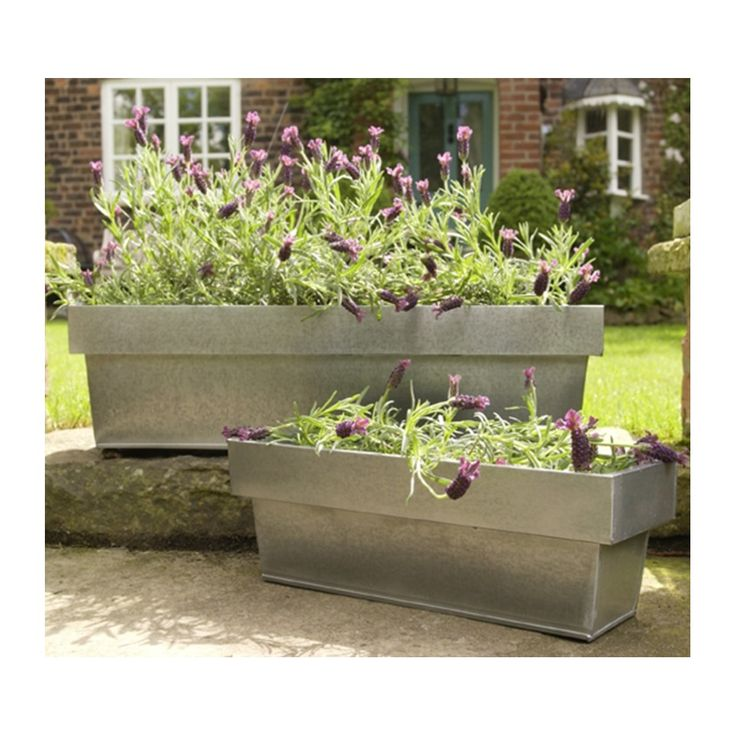 horse trough gardening cadix metal trough planter silver p image