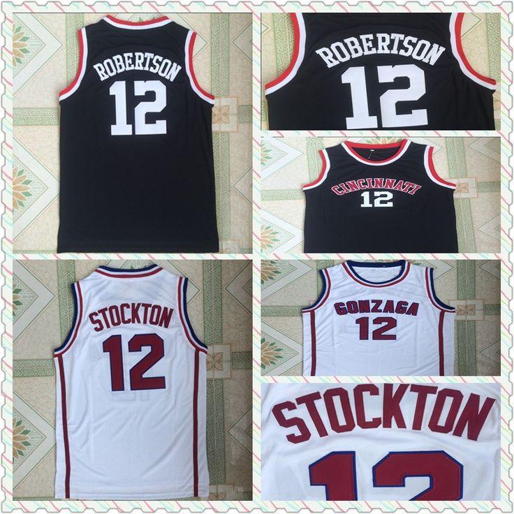NEW Cheap Throwback White Basketball Jersey #12 John Stockton College Jersey,2017 Gonzaga University Basketball Jerseys