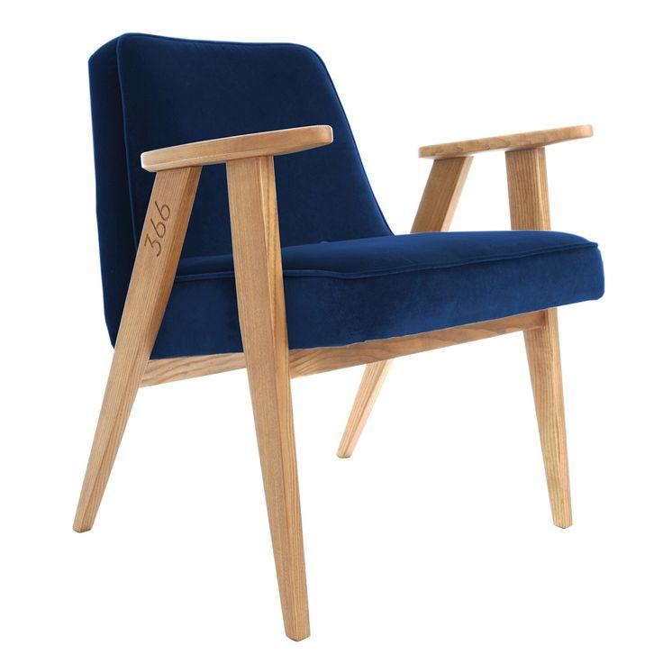 Fauteuil design, velours bleu indigo