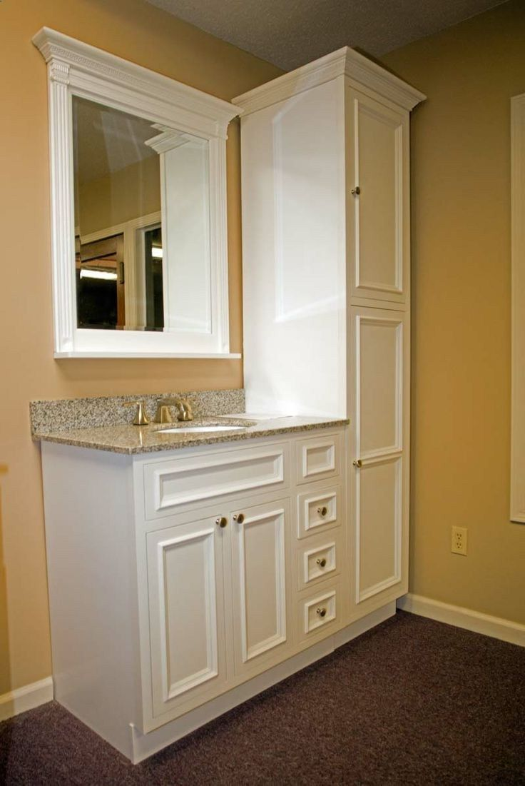 Charming For Small Bathroom. Cabinets Floor To Ceiling At End Of Sink Could Attach  To Shelving