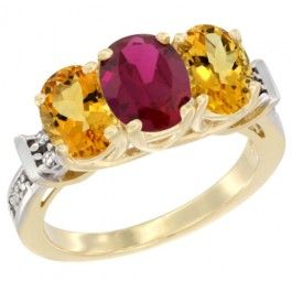 14K Yellow Gold Enhanced Ruby. This Ring is made of solid 14K Gold set with Natural Gemstones and accented with Genuine Brilliant Cut Diamonds.