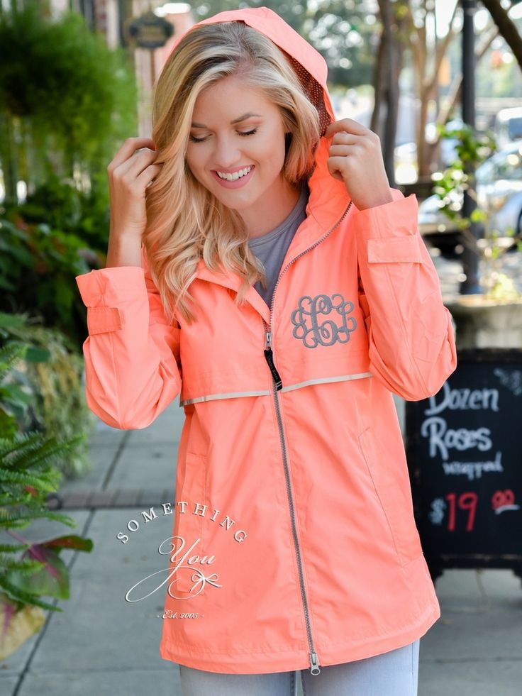 Something You - Neon Coral Monogrammed Women's New Englander Rain Jacket - Personalized Charles River Jacket - XS and Plus Sizes 5099, $54.95 (http://www.somethingyou.com/new/neon-coral-monogrammed-womens-new-englander-rain-jacket-personalized-charles-river-jacket-xs-and-plus-sizes-5099/)