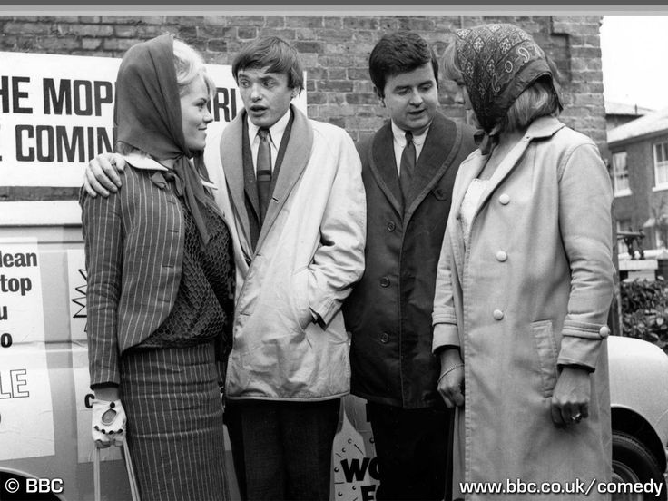 Wendy Richard, James Bolam, Rodney Bewes and Wanda Ventham in The Likely Lads episode, Last of the Big Spenders. BBC TV 1965