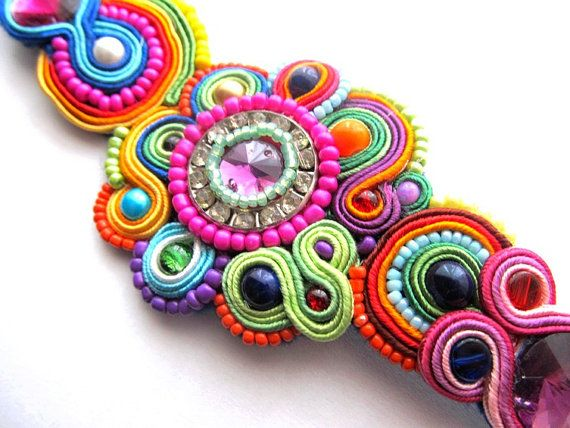 Colorful Soutache Bracelet with Zircon Beads and by IncrediblesTN, $90.00