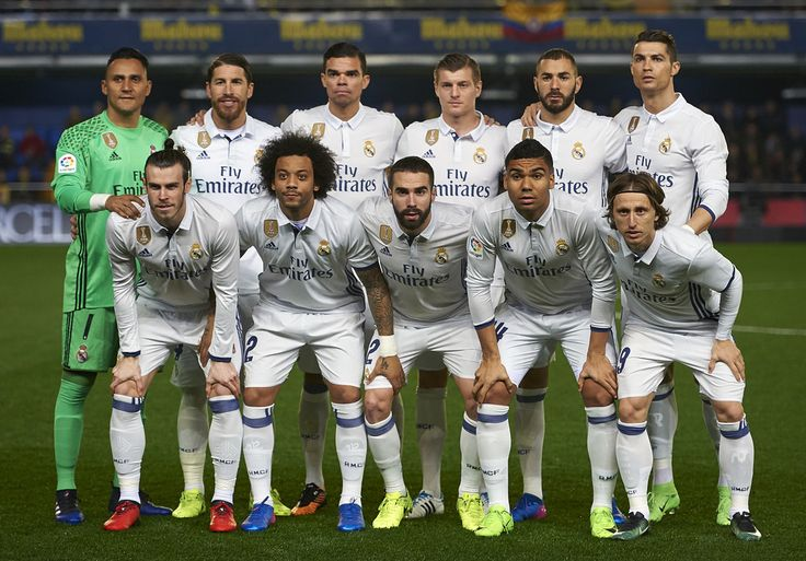 Real Madrid CF team line up during the La Liga match between Villarreal CF and Real Madrid at Estadio de la Ceramica on February 26, 2017 in Villarreal, Spain.