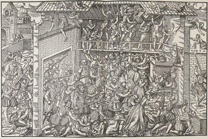 Le Massacre de Wassy, 1er mars 1562, Tortorel et Perrissin -L'édit de janvier 1562 favorable aux protestants, promulgué sous l'influence de Michel de l'Hospital et de Théodore de Bèze, resté à la cour après le colloque de Poissy, a mécontenté le parti catholique. Ses représentants, dont les Guise, ont été éloignés de Paris par Catherine de Médicis. Le 1° mars 1562, François de Guise s'arrête dans le village de Wassy où des fidèles sont rassemblés pour y célébrer le culte réformé.