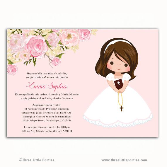 1st Communion Invitation, Baptism Invitation or Confirmation Invitation -Personalized with your event details -Wording may be changed -Available in Spanish -With or Without a Picture -Can be made for any type of event  This is a printable digital file that will be emailed to you. No physical invitation will be mailed.  *Please note that the color you see on your monitor may vary slightly from the color on your actual printed product. All computer monitors display color differently and all…
