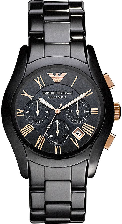 Emporio Armani AR1410 Ceramica Chronograph Watch - for Men  #RePin by Dostinja - WTF IS FASHION featuring my thoughts, inspirations & personal style -> http://www.wtfisfashion.com/
