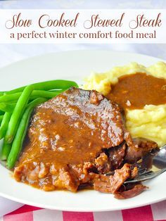 This stewed steak is a satisfying, cold weather comfort food meal at any time of year; it slow cooks in the oven or slow cooker for a few hours as the meat tenderizes & forms its own gravy.