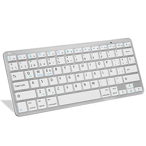 cool Rii BT09 teclado Bluetooth para Apple und PC , Windows 7 + 8,Linux,Mac OS X,Notebook,Laptop,Netbook,Mac Book,Tablets,Apple iPad,Samsung Galaxy Tab2,Galaxy Note,Smart Phones,Android,Iphone (Blanco)