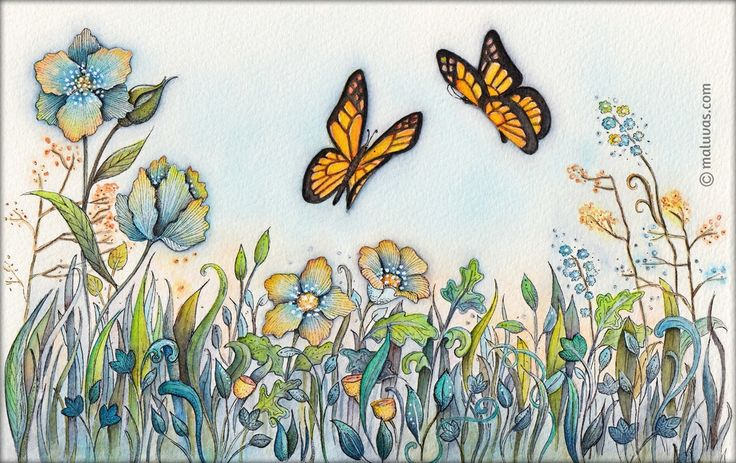 Dreaming of spring... - 52 Week Illustration Challenge - 06 Garden. Inktense pencils on watercolor paper.