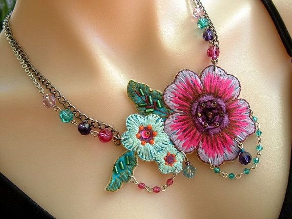 use embroidery machine  Statement Necklace with Bright Applique Fabric by KillerJewels, $31.00