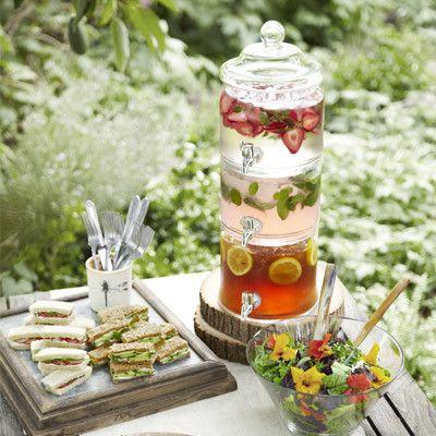 3 Tier Beverage Dispenser...Strawberry Water, Pink Lemonade & Iced Tea With Lemon