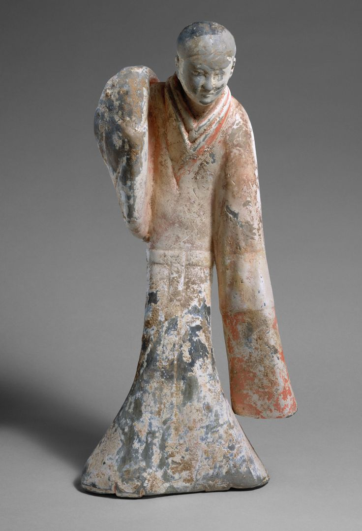 Female Dancer, 2nd century B.C. Chinese. The Metropolitan Museum of Art, New York. Charlotte C. and John C. Weber Collection, Gift of Charlotte C. and John C. Weber, 1992 (1992.165.19) | A quintessential example of early Chinese sculpture, this ceramic figure illustrates the artist's achievement in conveying a sense of motion in a still object. #OneMetManyWorlds