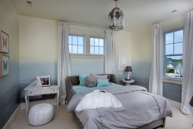 Fun girl's room features ombre painted walls from light to dark: Restoration Hardware Mediterranean White, Butter Cream, Glacier, Gravel, and Charcoal.
