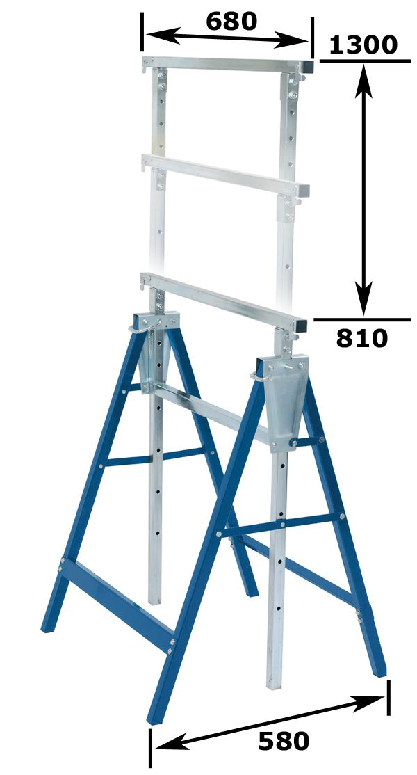 open dementions:  680*580*790-1300mm    folding dementions: 680*160*840mm   Foot tube Size :25*25*1.0MM rated capacity:200kgs/set