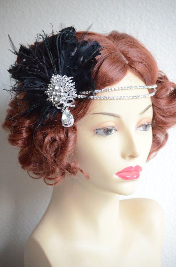 Art deco bride, art deco headpiece, daisy, Gatsby, flapper, double strand rhinestone headband with detachable feather facinator