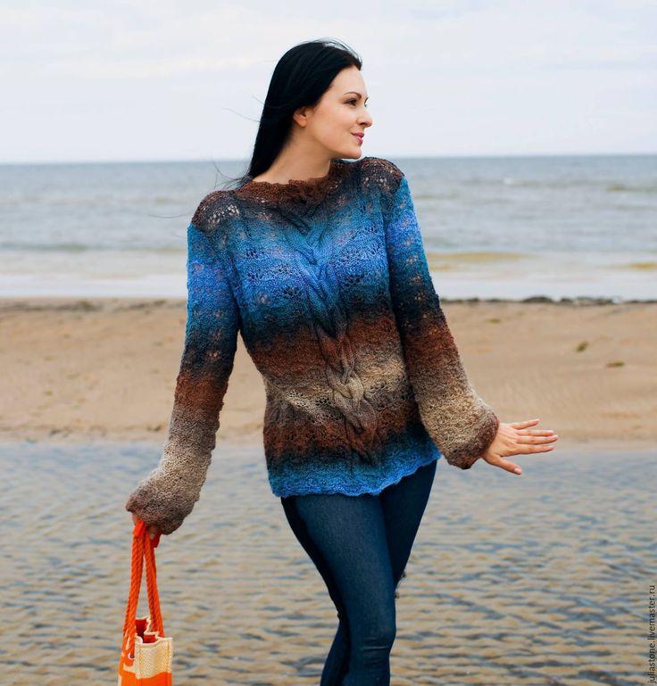 """Купить Пуловер """"""""Кофе со льдом"""""""" - васильковый, однотонный, пуловер вязаный, пуловер, пуловер женский"""