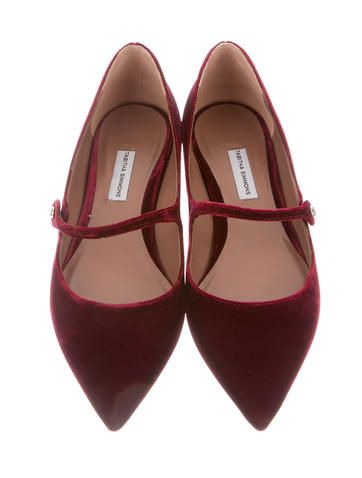 Burgundy velvet Tabitha Simmons Hermione pointed-toe Mary Jane flats with stacked heels and embellishments at straps. Includes box and dust bag.
