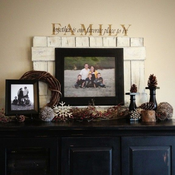 Winter Mantle - Use a pallet to add depth and dimension - you can even hang frames from it.