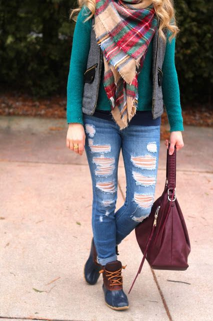Distressed jeans, teal sweater, herringbone vest, plaid blanket scarf, Sperry duck boots | I do deClaire | click through for more great casual and work outfit ideas!