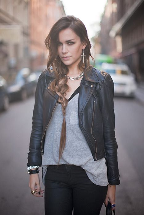 Perfect combination of hair, cross, and leather