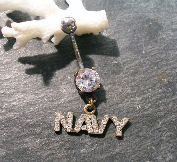 Navy RHINESTONE Belly Button Bar Pierced BELLY Button Jewelry Military Navy Rhinestones Body Jewelry Body Piercing (D112) on Etsy, $6.50