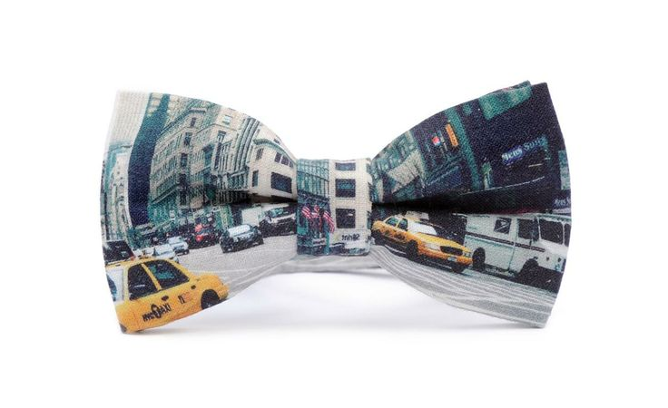 STREETS OF NEW YORK printed bow tie. High quality print, certificated, organic cotton.