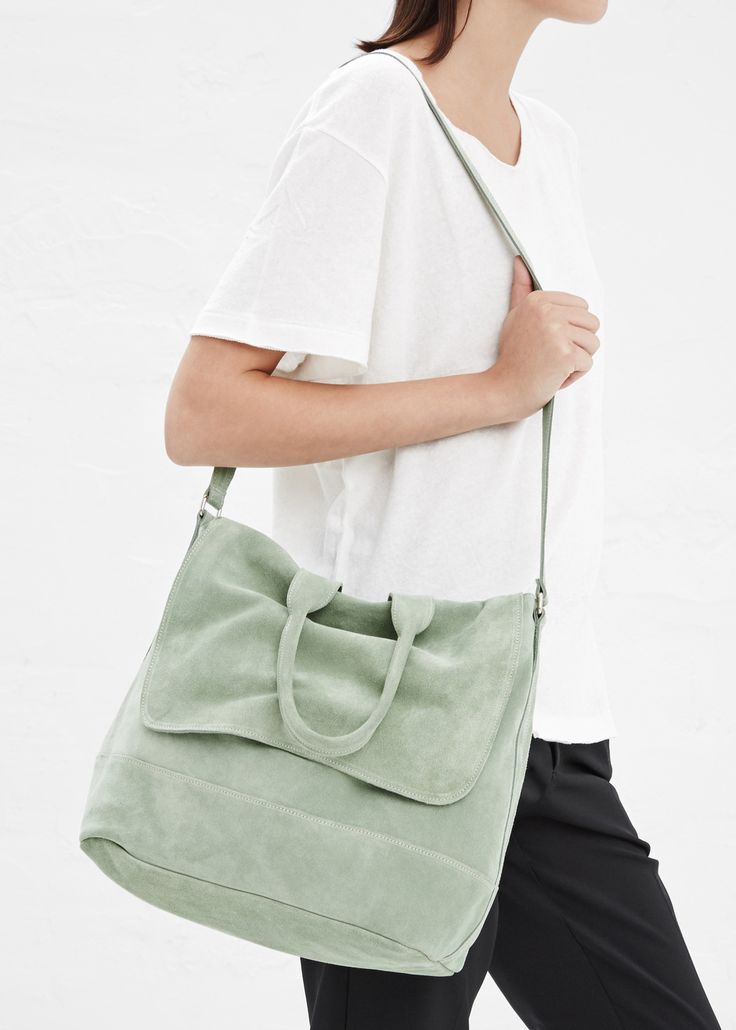 clyde suede tote bag in mint, unknown brand