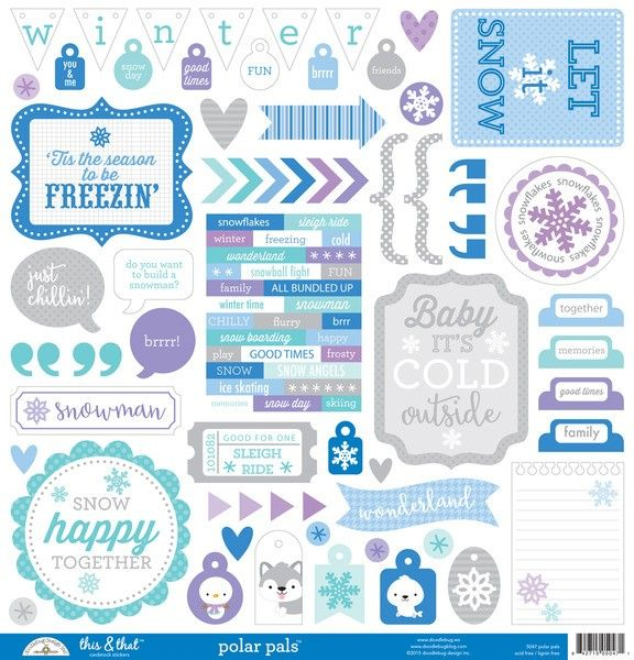 Doodlebug Design Polar Pals - This & That Stickers