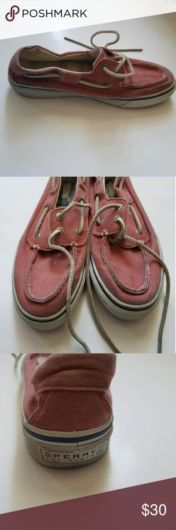 Sperry Top-Side Men's Canvas Salmon Shoes Size 8 Pre-owned in good condition Sperry Men's Canvas Red/Pink Boot Shoes size 8. Sperry Top-Sider Shoes Boat Shoes