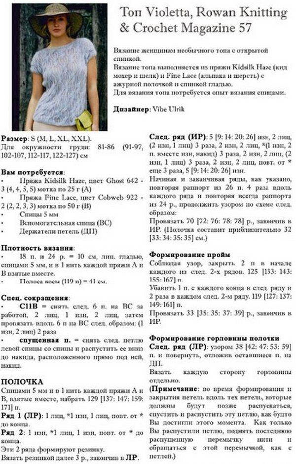 http://www.liveinternet.ru/  Мохеровый топ с необычной спинкой связан спицами. Узор для полочки топа - разные по форме косы. Спинка связана чулочной вязкой.
