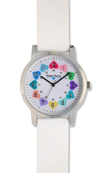 Multi-colored hearts embellish the dial on this Nurse Mates Women's Kate Heart Watch. Complete with a silicone strap, military time, and water resistance, this accessory is the perfect match for yo...