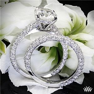 "18k White Gold ""Elena Rounded Pave"" Diamond Engagement Ring and Wedding Ring #Whiteflash #MarkSchneider #DesignerRings"