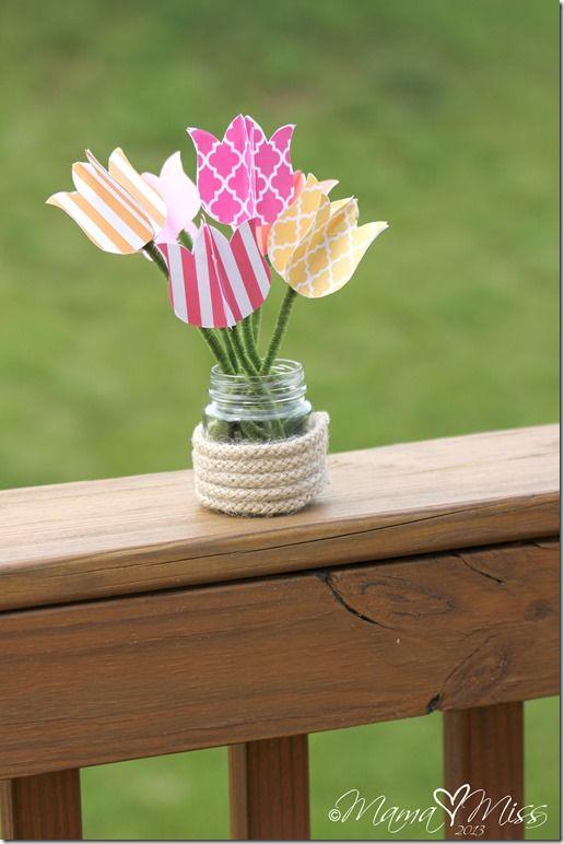 create kiddo: DIY Tulips Upcycled Vase and Printable - Mama Miss