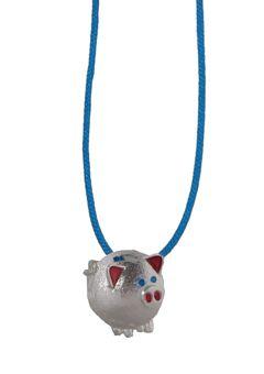 Handmade jewelry, silver necklace made of a silver piggy pendant braided with blue cord - Χειροποίητo κολιέ γουρουνάκι από ασήμι 925ο με σμάλτο, δεμένο με γαλάζιο κορδόνι @ http://www.theodorajewellery.com/jewel/gr/2169/