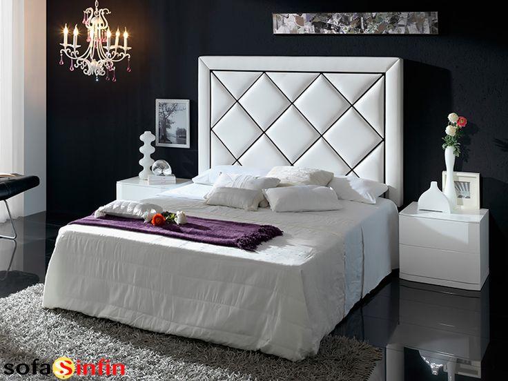 Cabecero de cama tapizado en piel y polipel modelo Tamara fabricado Dupen en Sofassinfin.es