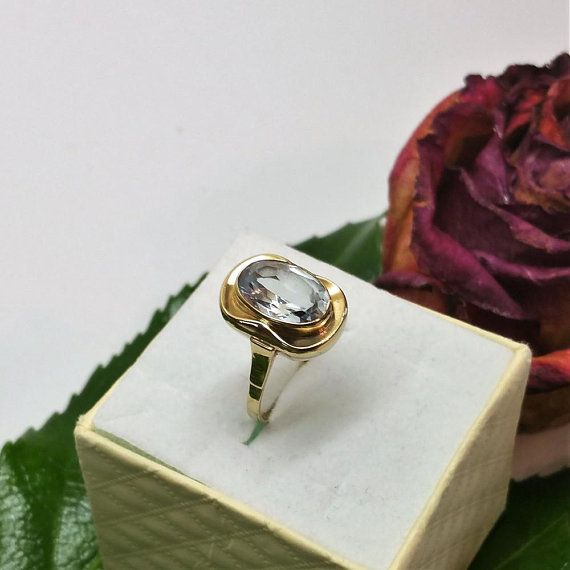 Art Deco Ring Gold 333 Blautopas Vintage Rar Gr385