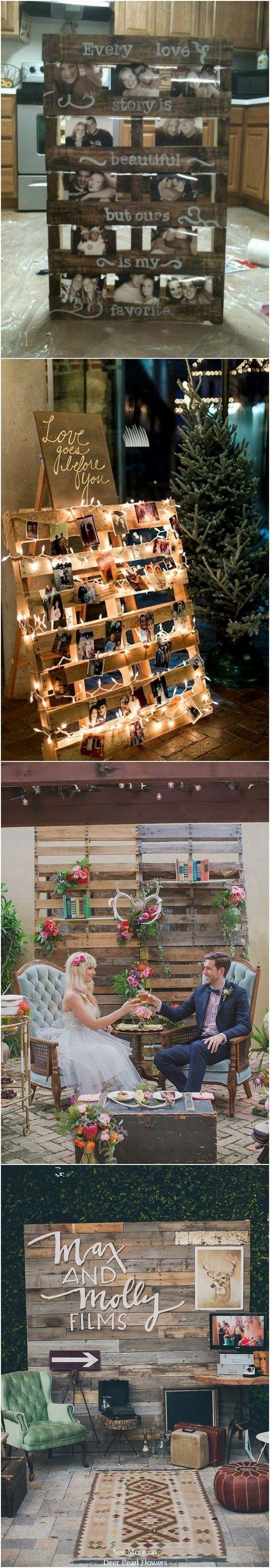 Love the use of palettes in these rustic country wedding decor ideas