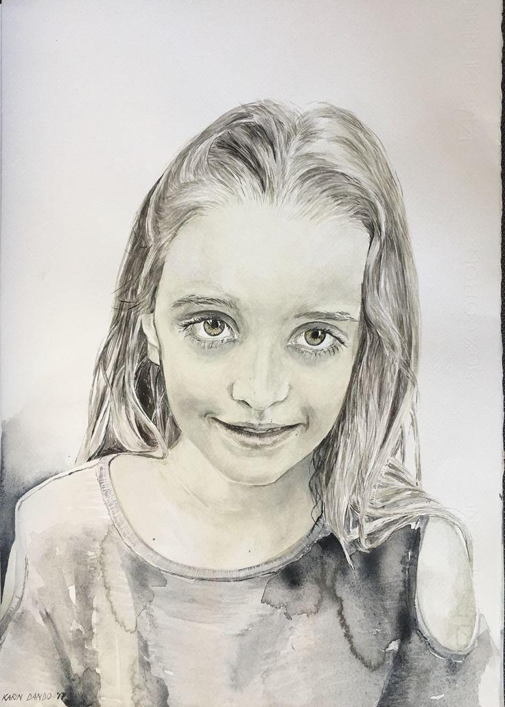 Karin Dando #watercolour on paper # portrait of Katja 2017