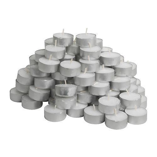 100 Pck Lot Wedding Party Tealights Tea Lights Unscented Candles White IKEA Bulk #IKEA $11.59