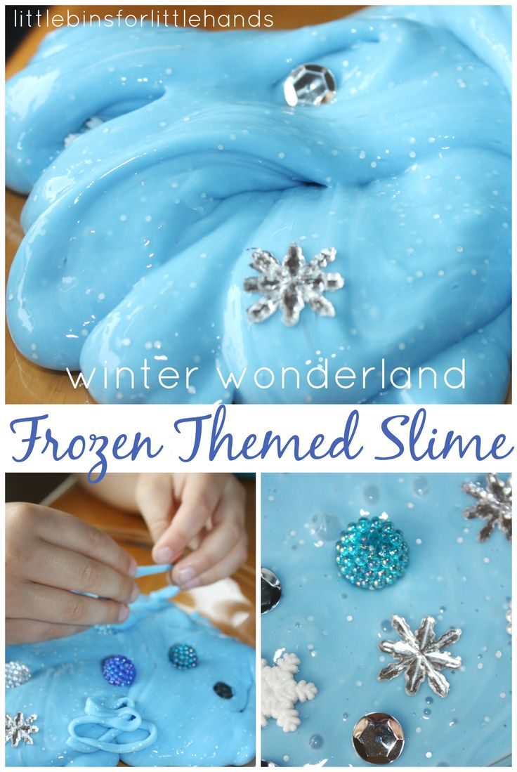Frozen Winter quick slime sensory play. Simple homemade recipe for easy slime that is so easy to use and so much fun to play with too. The texture is amazing. Whip up a batch in less then 5 minutes!