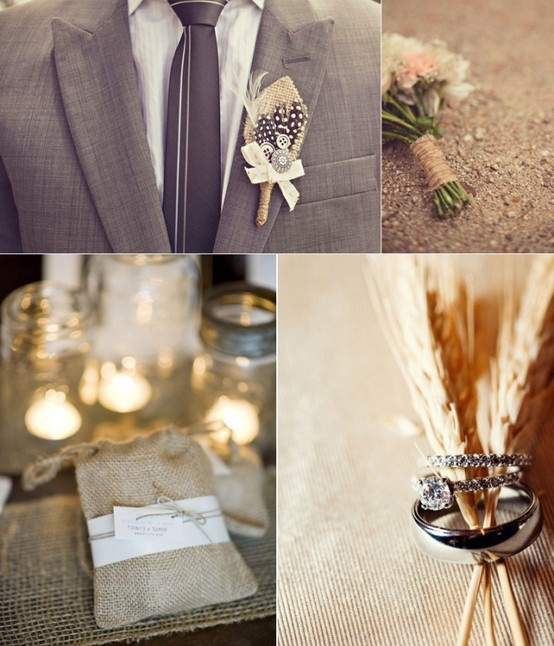 Wedding  grey Suit and the burlap. Love the wheat with the rings! :)