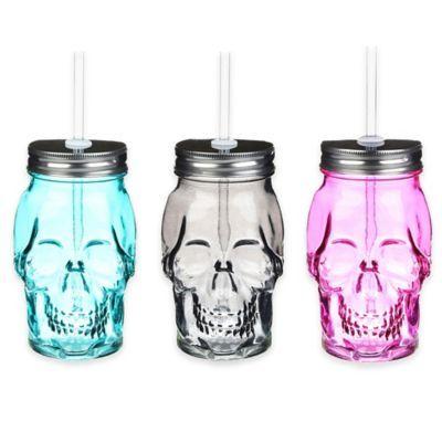 Formations Skull Shaped Mason Jar with Straw - www.BedBathandBeyond.com
